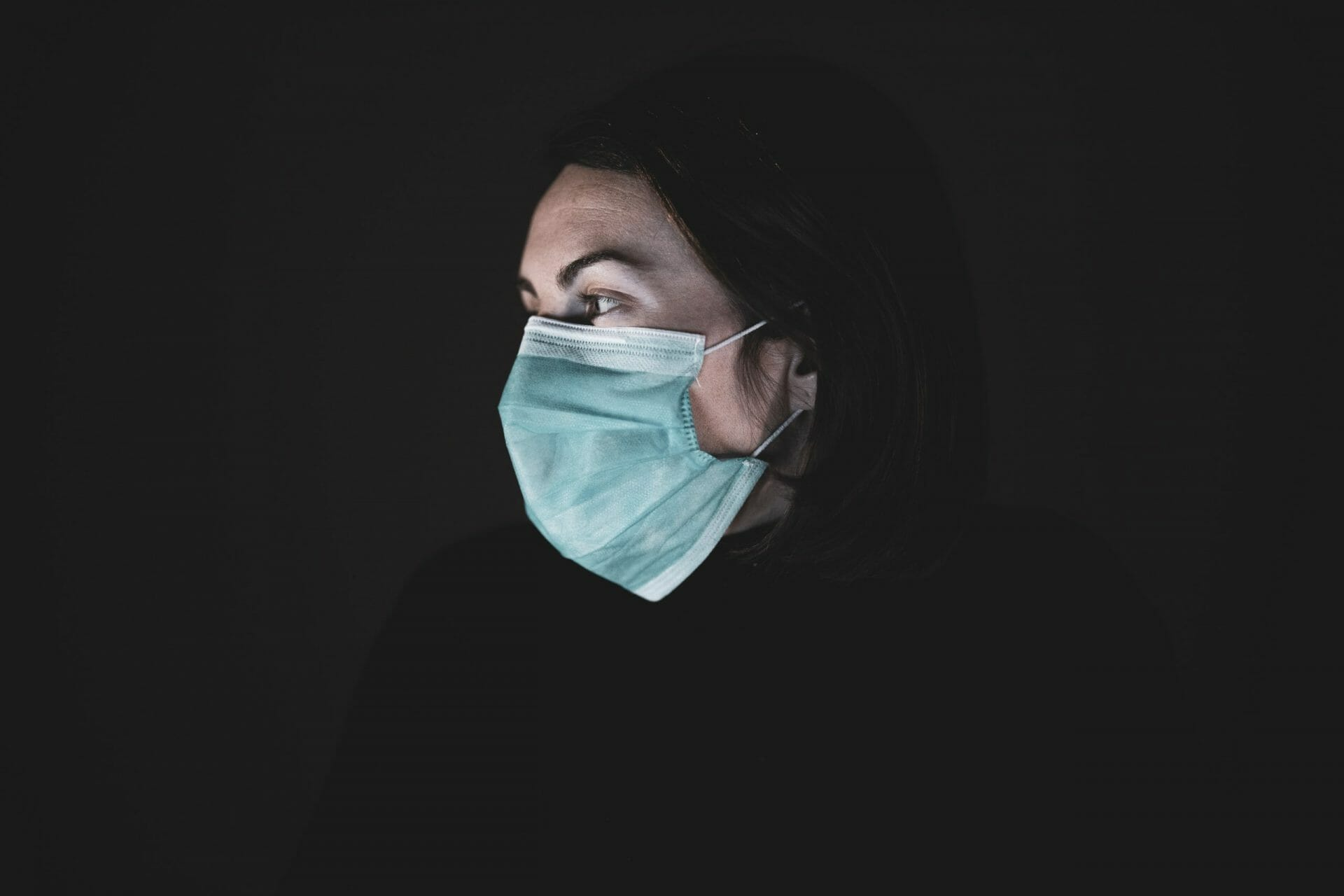 Girl with mask to protect her from Coronavirus